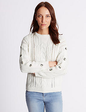 Cotton Blend Cable Knit Button Sleeve Jumper, , catlanding