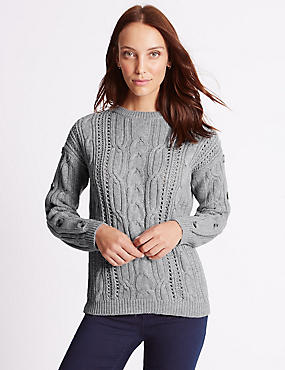 Cotton Blend Cable Knit Button Sleeve Jumper, GREY MARL, catlanding