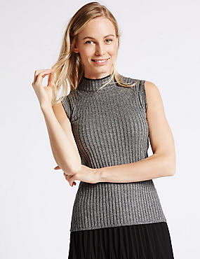 Ribbed Funnel Neck Sleeveless Jumper, GREY MIX, catlanding