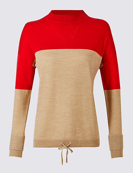 Pure Wool Colour Block Jumper