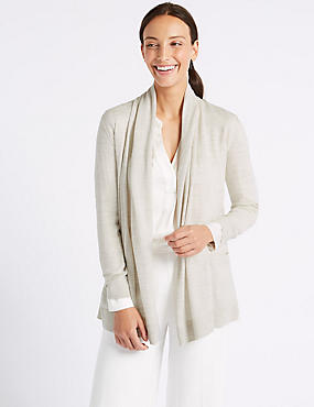 Pure Merino Wool Textured Cardigan, OATMEAL MIX, catlanding