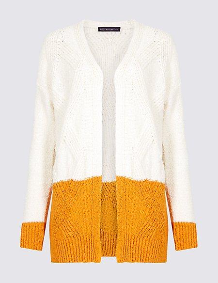 Cotton Rich Colour Block Longline Cardigan