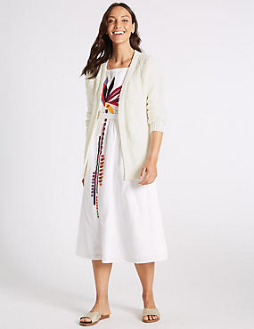 Cotton Rich Textured Longline Cardigan, CREAM, catlanding