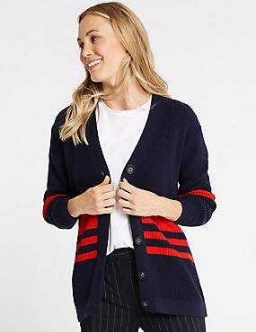Cotton Blend Striped Longline Cardigan  , NAVY MIX, catlanding