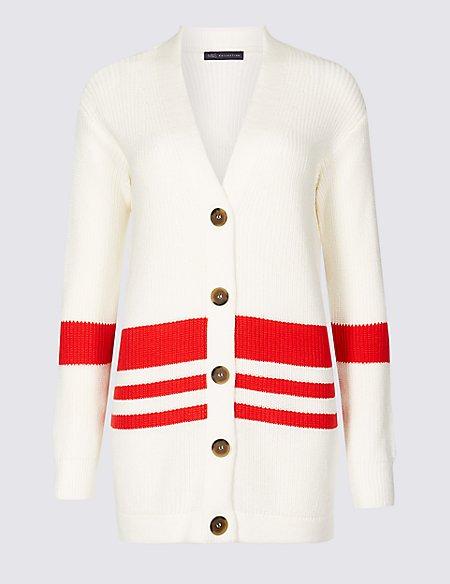 Cotton Blend Striped Longline Cardigan