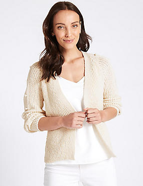 Cotton Blend Textured Cardigan , CREAM, catlanding