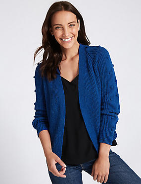 Cotton Blend Textured Cardigan , ULTRAVIOLET, catlanding