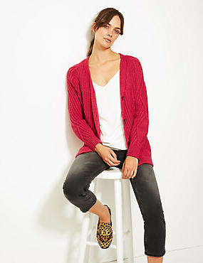 Cable Knit V-Neck Longline Cardigan