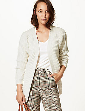 Textured Open Front Cardigan , CREAM, catlanding