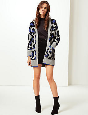 Animal Print Longline Cardigan , GREY MIX, catlanding