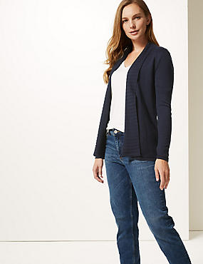 Textured Long Sleeve Cardigan, NAVY, catlanding