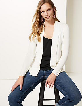 Textured Long Sleeve Cardigan, CREAM, catlanding