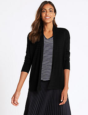 Textured Long Sleeve Cardigan, BLACK, catlanding