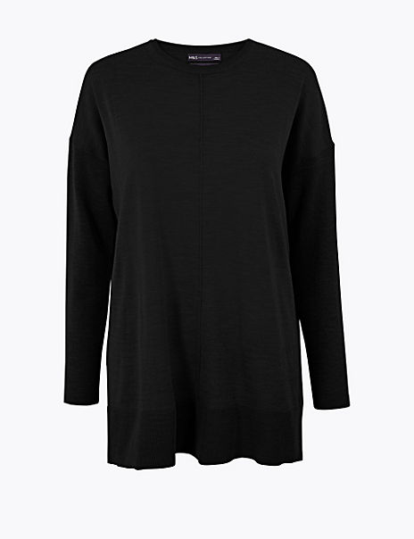 Pure Merino Wool Longline Jumper