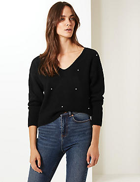Embellished V-Neck Jumper , BLACK, catlanding