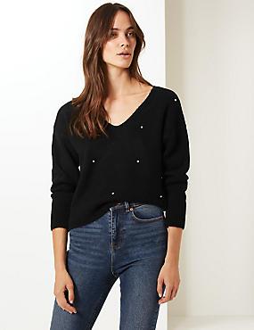 Zdobený svetr s nbsp výstřihem ... 4baf2166b9