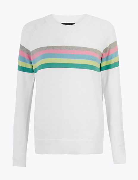 Cotton Striped Relaxed Jumper