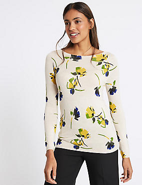 Floral Print Slash Neck Jumper, CREAM MIX, catlanding