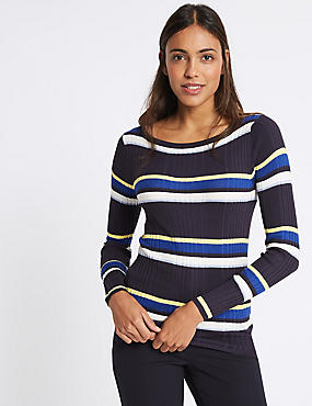 Stripe Ribbed Jumper, NAVY MIX, catlanding