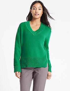 Cotton Blend V-Neck Jumper , GREEN, catlanding