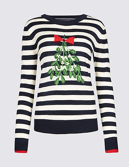 Embellished Mistletoe Novelty Jumper Ms Collection Ms