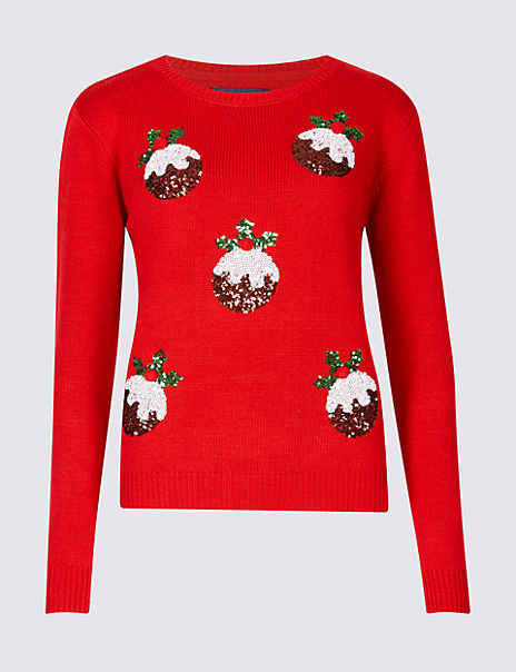 Christmas Pudding Embellished Novelty Jumper