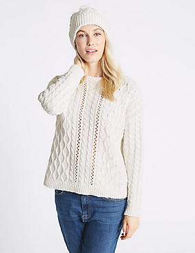 Cotton Blend Textured Jumper with Hat