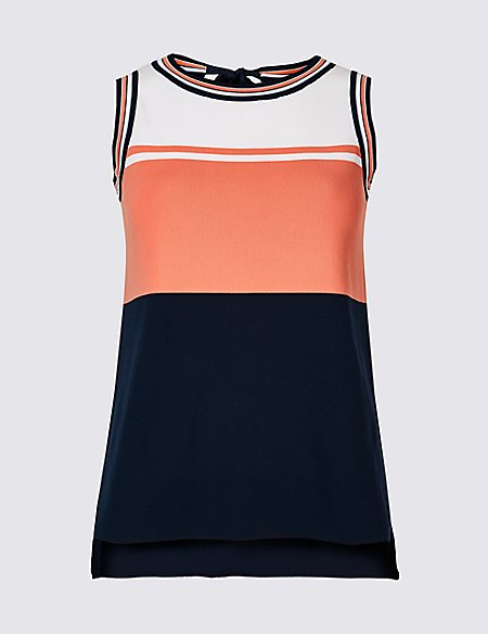 Colour Block Tie Back Sleeveless Jumper