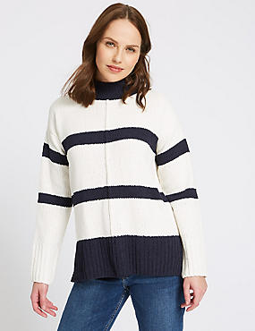 Chenille Textured Funnel Neck Jumper, CREAM, catlanding