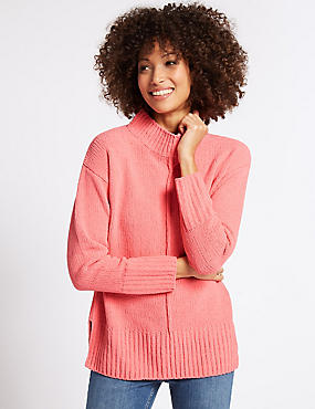 Chenille Textured Funnel Neck Jumper, WATERMELON, catlanding