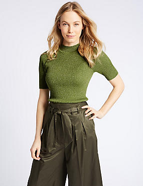Textured Funnel Neck Short Sleeve Jumper, FERN, catlanding