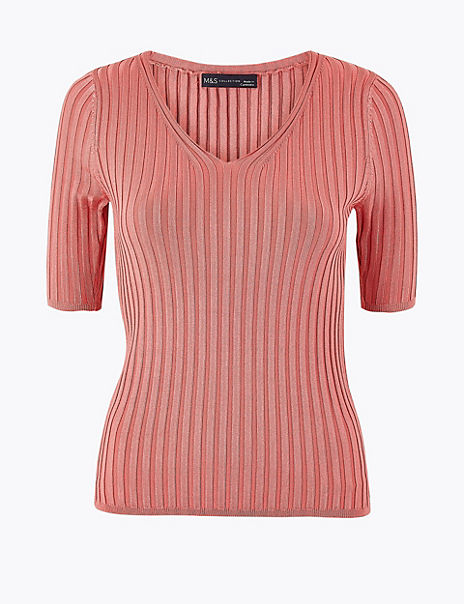 Ribbed V-Neck Short Sleeve Knitted Top