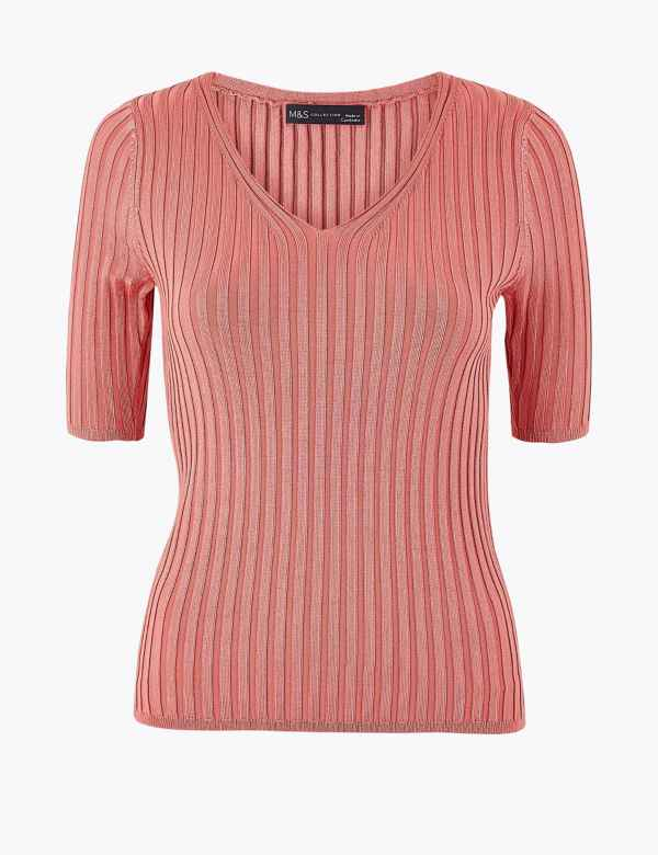 f838e1bde06879 Ribbed V-Neck Short Sleeve Knitted Top