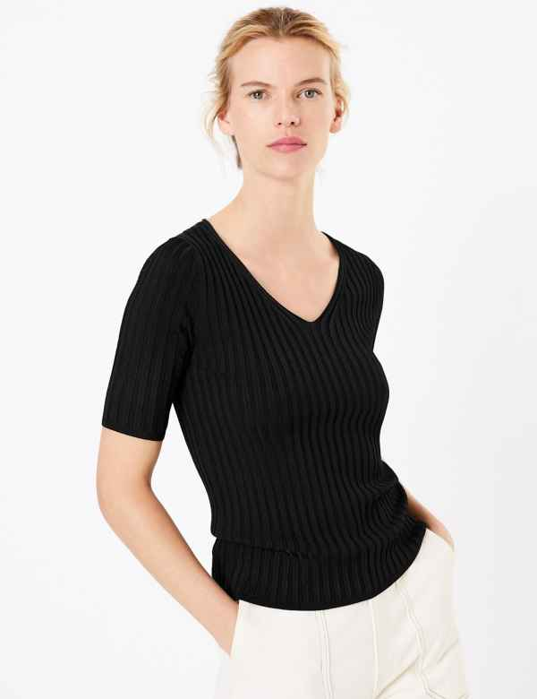0d3fbb3ebee74a Ribbed V-Neck Short Sleeve Knitted Top