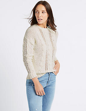Cotton Rich Textured Round Neck Jumper , CREAM, catlanding