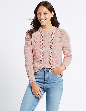 Cotton Rich Textured Round Neck Jumper , BUBBLEGUM, catlanding