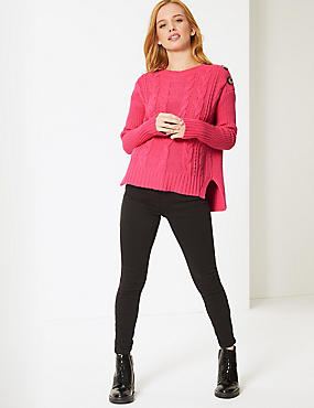 PETITE Cotton Blend Textured Jumper , PINK, catlanding