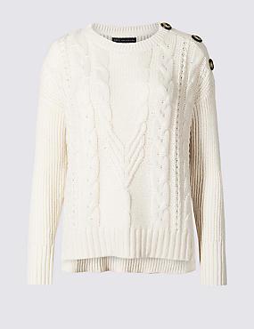 PETITE Cotton Blend Textured Jumper , CREAM, catlanding