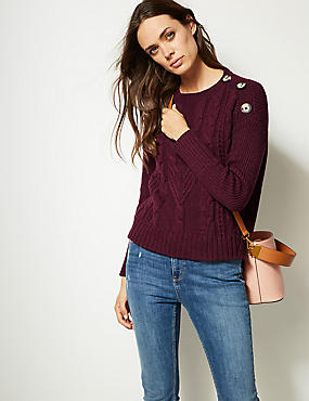 Cotton Blend Cable Round Neck Jumper , PLUM, catlanding