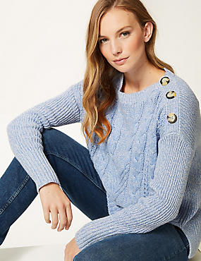 Cotton Blend Cable Round Neck Jumper , BLUE, catlanding