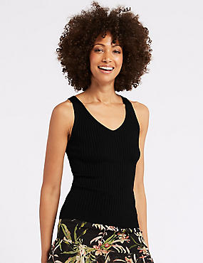 Textured V-Neck Jumper, BLACK, catlanding