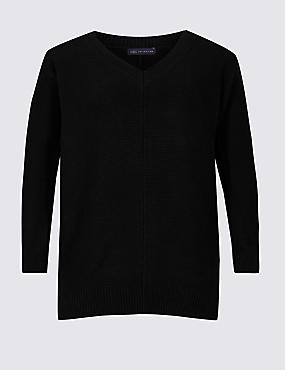 CURVE Pure Cotton Textured V-Neck Jumper , BLACK, catlanding