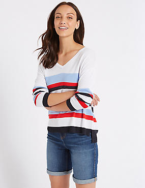 Striped V-Neck Long Sleeve Jumper with Linen
