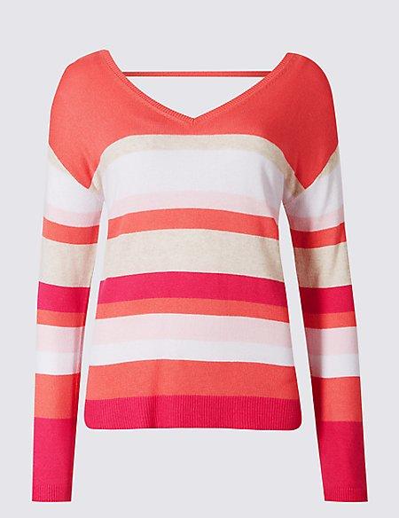 Striped V-Neck Long Sleeve Jumper with Linen