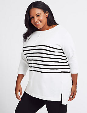 CURVE Pure Cotton Striped Longline Jumper