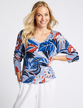 Printed V- Neck Jumper