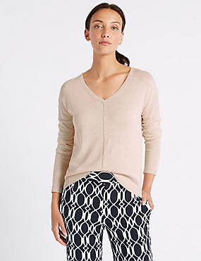 Textured V-Neck Jumper with Linen