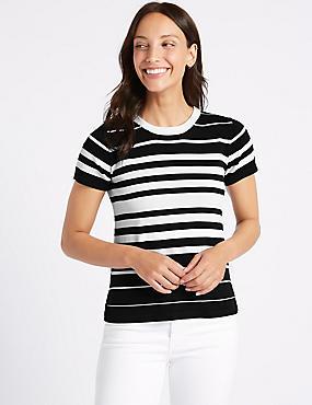 Striped Round Neck Short Sleeve Jumper , BLACK MIX, catlanding