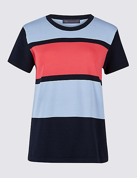 Colour Block Round Neck Short Sleeve Jumper