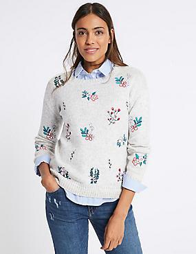 Cotton Blend Floral Embroidered Jumper, GREY MIX, catlanding
